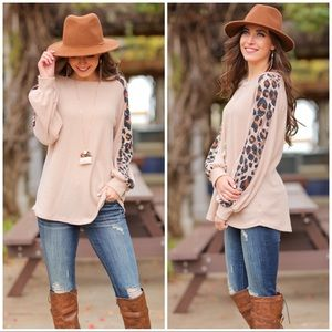 Taupe Waffle Knit Sweater with Animal Print Sleeve